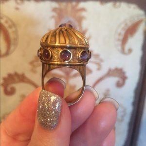 Jewelry - VTG 14k vermeil/925 purple sim cat's-eye ring